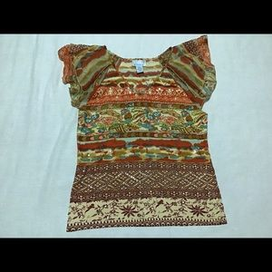 Vintage 90s ethnic Emma beaded retro shirt